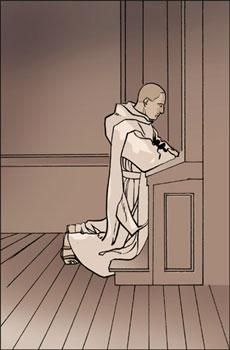 moine en prière